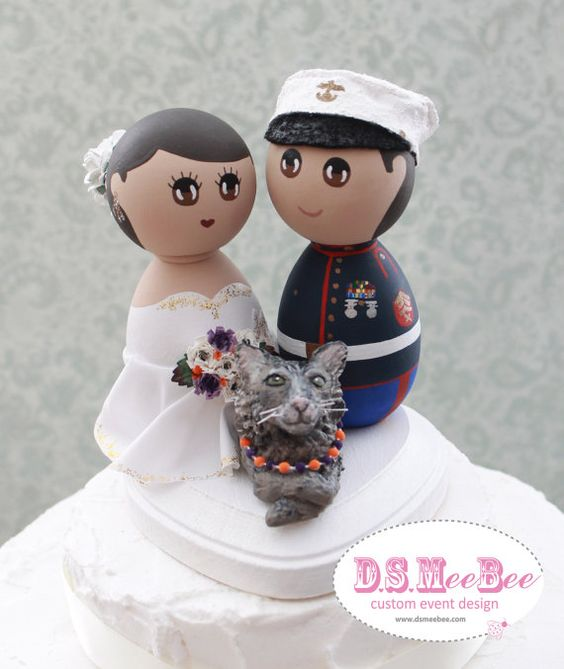 Custom Wedding Cake Topper  Military Marine Corps with by DSMeeBee