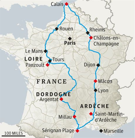 France map; great route map and tips to enjoy the best of the sights and villages :-)