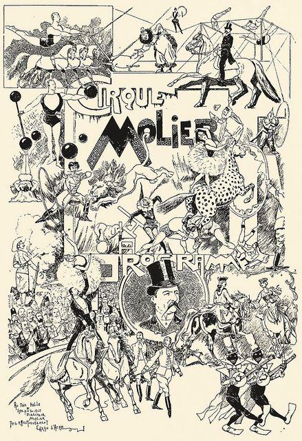 Cirque Molier program    From Les Menus & Programmes Illustrés - Invitations - Billets de Faire-Part - Cartes d'Adresses - Petites Estampes du XVIIème Siècle jusqu'à nos jours.    By Léon Maillard. Published 1898 by G. Boudet, Paris.