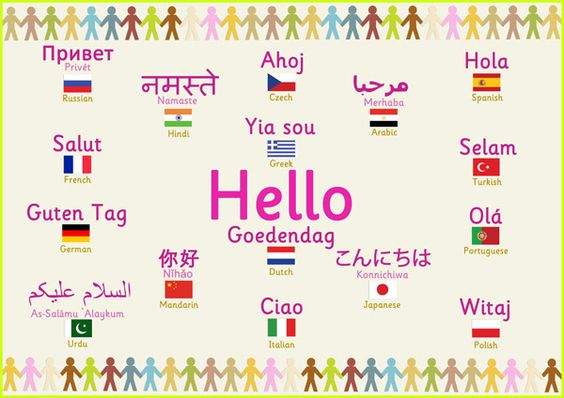 Multilingual 'hello' poster...features the word 'Hello' in a variety of different languages. #teachingresources