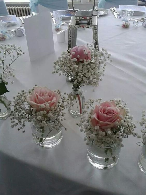Centre de table _ rose _ gypsophile