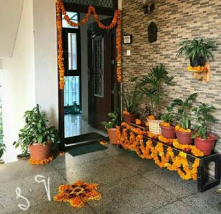 Inspirations And Tips For Outdoor Diwali Party Diwali Decorations At Home Home Entrance Decor Entrance Decor