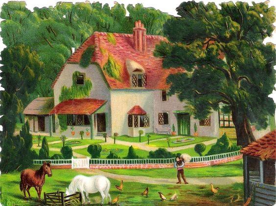 Oblaten Glanzbild scrap die cut chromo Haus  15,5cm house Villa Garten Pferde: