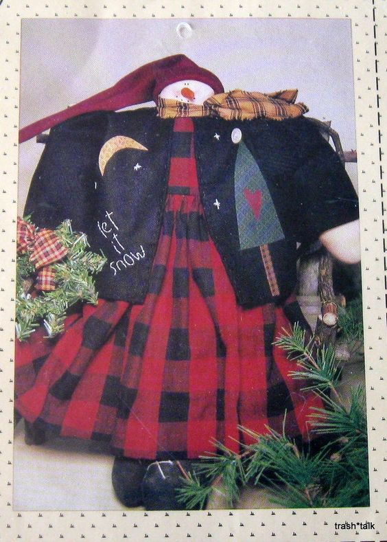 """Country Stitches SNowman Snow Lady doll 16"""" tall dress applique Primitive #countrystitches"""