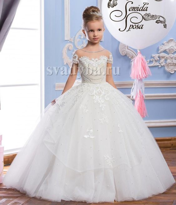 2016 pearls lace sheer neck tulle arabic flower girl for Flower girls wedding dresses