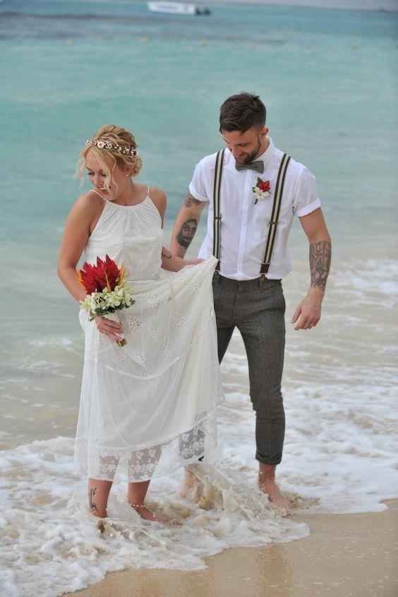 Beach Wedding - picture idea - wedding dress - beach wedding dress - Groom with suspenders - Weddings By RIU - Caribbean Wedding