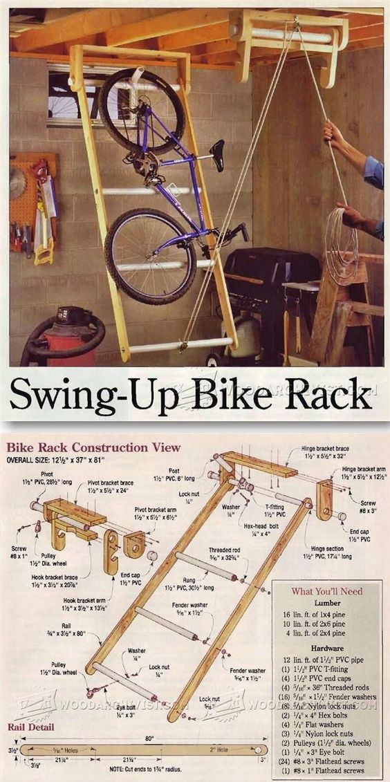 Swing up bike rack woodworking plans and projects for Log swing plans