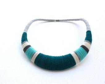 Collana di Teal collana collana blu verde acqua di estudioshop
