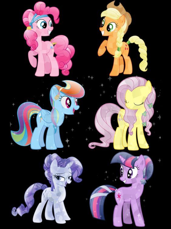 Rarity Pinkie pie, Fluttershy, Applejack. Twilight sparkle & Rainbow Dash as crystal ponies