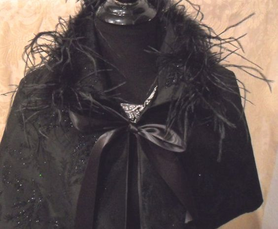 CAPELET - Black Satin Sparkle Ostrich Feathers Glam Girl Holiday - Black Sparkle