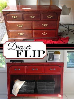 DIY Thrifted Dresser into TV Stand/Buffet/Entryway Table I am in love with this finished product. It is even the right color red for my house!: