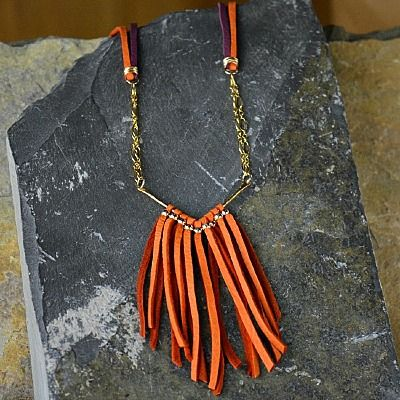 Colorful tribal-inspired fringe make this necklace extra boho-chic. A warm color palette reminiscent of a summer sunrise will add a punch of color to your ensemble. This necklace is perfect for layering with other boho or tribal inspired necklaces! http://www.ninadesigns.com/jewelry_design_ideas/sunrise_fringe.html