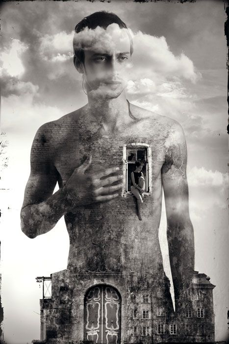 ♂ Dream ✚ Imagination ✚ Surrealism surreal art Black & white man with open heart Usovich Alexsey: