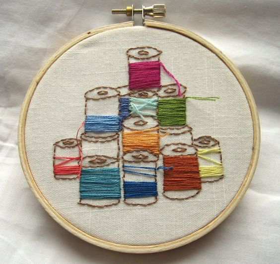 Embroidery hoop art thread spools stitches craft