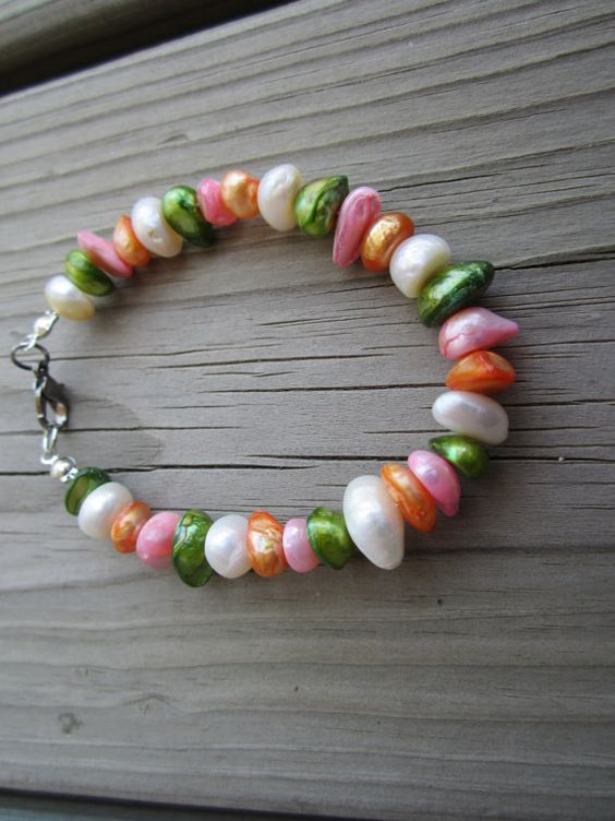 Beautiful white green orange and pink shell chip by TSuesTreasures, $15.00