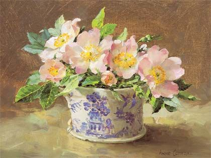 Wild Roses in a Willow Pattern Jug: