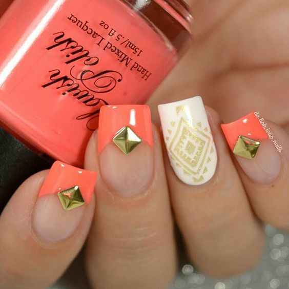 French tips, manicure, nail design.  Nail art stamping. Gold Holo. Coral and…