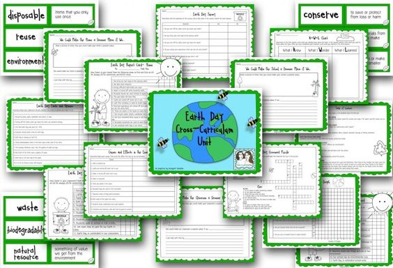 Earth Day Cross-Curriculum Unit! (KWL, Earth Day Report Cards for Home, School, and Classroom, Writing Prompts, Cause and Effect, Fact and Opinion, Crossword Puzzle, Vocabulary Flash Cards and more!)