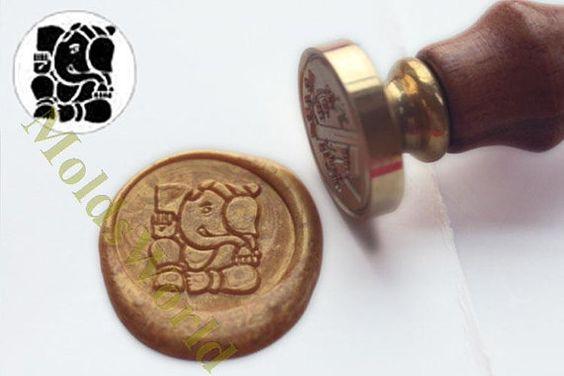 S1206 Ganesh Elephant Wax Seal Stamp  Sealing wax by MoldsWorld