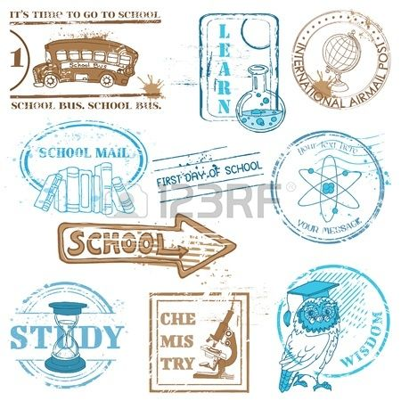 Set of SCHOOL stamps - for design and scrapbook