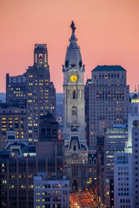 Philly ~ William Penn statue stands atop City Hall, Philadelphia, PA