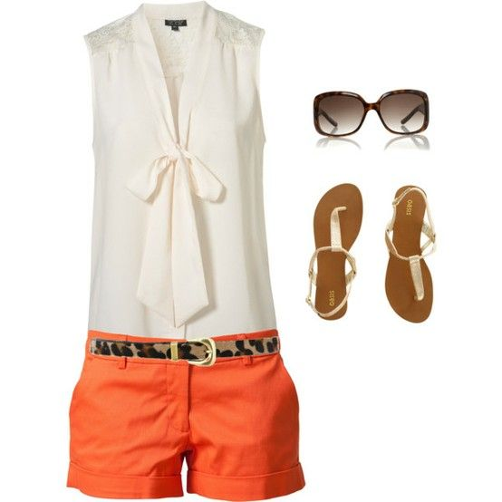 I love everything, right down to the sunglasses :): Nice Outfit, Summer Style, Dream Closet, Spring Summer, Leopard Belt, Orange Shorts, Summer Outfits, Cheetah Belt, Leopard Prints