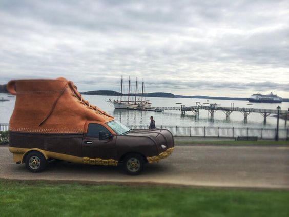 The L.L.Bean Bootmobile in Bar Harbor, Maine | link goes to a schedule of Bootmobile stops in 2016.