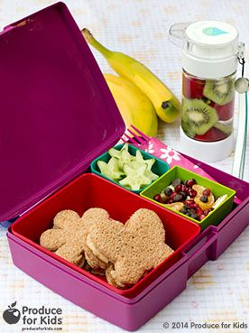 Butterfly Bento Box - This cute butterfly bento box will liven up any lunchbox! Use a cookie cutter for fruits and veggies for a quick and easy way to add more fun to lunchtime. #eggfree #vegetarian #soyfree #lunchbox #bento #poweryourlunchbox #ProduceforKids