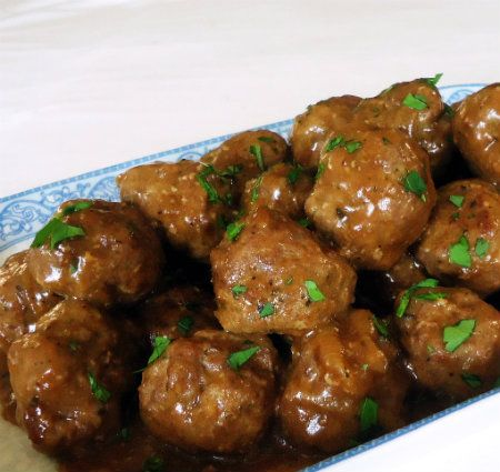 One Perfect Bite: Meatballs in Caramelized Onion Gravy