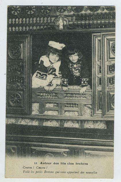Closed Bed  Breton Bedroom  Postcard: