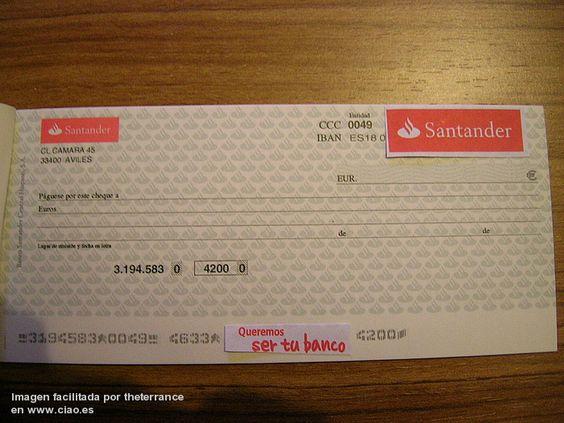 Ejemplo de cheque del banco santander g pinterest cheque for Cajeros santander cerca de mi