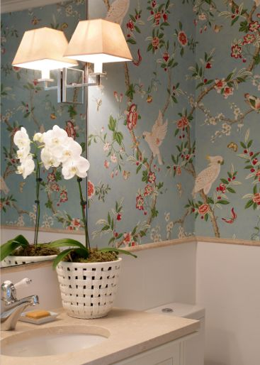Kanchou wallpaper by brunschwig fils cockatoo parrots for Wallpaper home is where the heart is