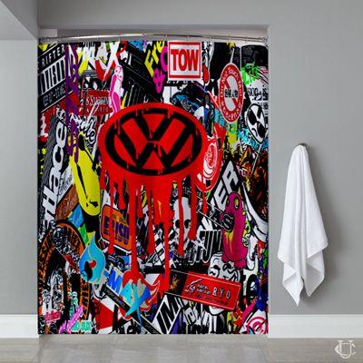 VW Sticker Bomb Volkswagen Dub Bug Shower Curtain | Shower Curtain ...