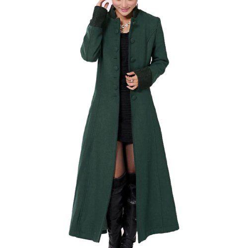 Womens Elegant Super Long Slim Fit Trench Coats (Large green