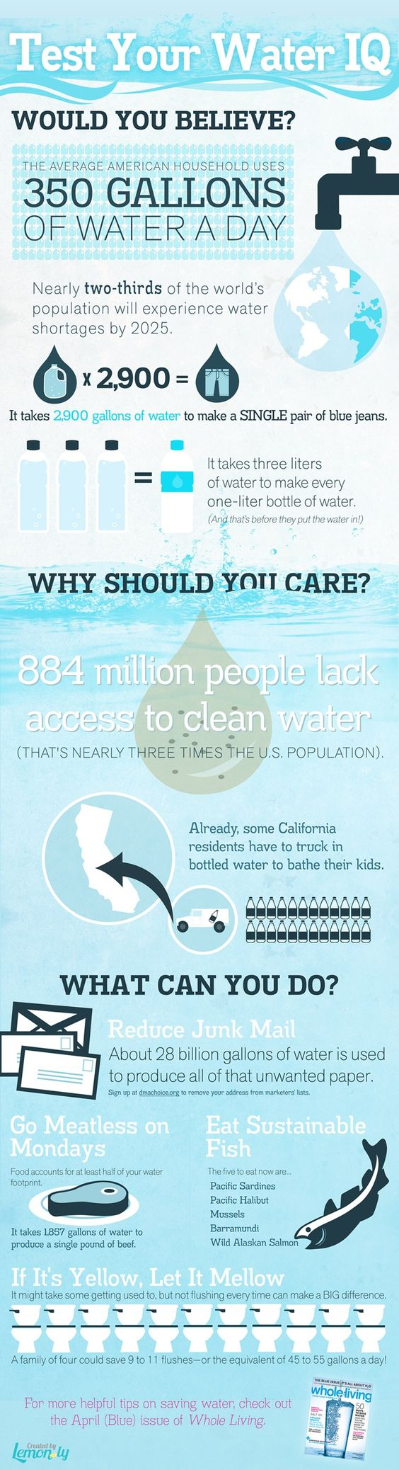 Infographic courtesy, from Whole Living magazine, on US water conservation and awareness. [Source: Whole Living, US,  http://goo.gl/1SQSU, 22 March 2012]