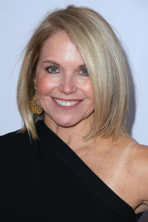 Sleek Bob A sleek, single-length bob that curves in at the ends helps give Katie Couric the illusion of a pointier chin. Finish off a style like this with Joico K-Pak Protect & Shine Serum ($17, ulta.com). See more haircuts that are perfect for round face shapes at GoodHousekeeping.com.