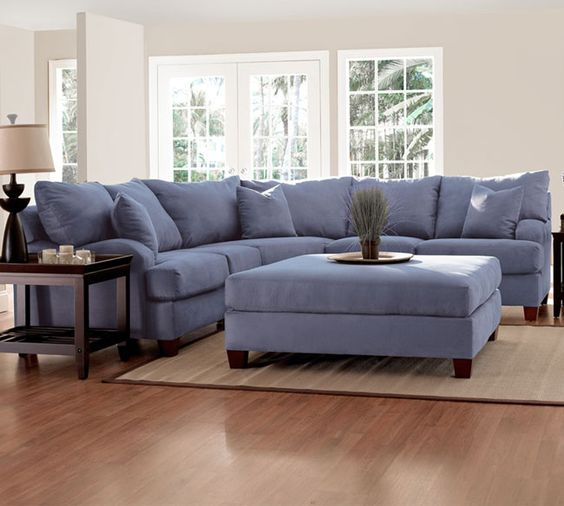 Klaussner Canyon Sectional Ink Microfiber Blue Made In