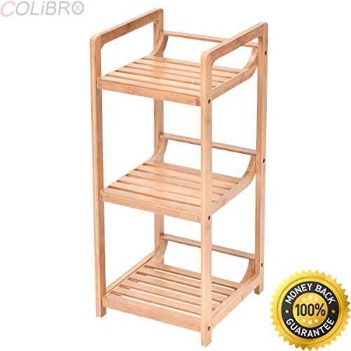 Colibrox 3 Tier Bathroom Shelf Bamboo Bath Storage Space Saver Organizer Shelves Rack New Bamboo Bathroom Bathroom Wall Shelves Storage Spaces Space Saver Bed