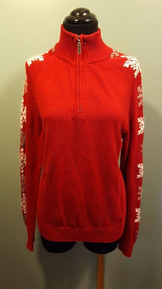 Eddie Bauer Red White Gray Snowflake Cotton 1/2 Zip Christmas Holiday Sweater M #EddieBauer #12Zip
