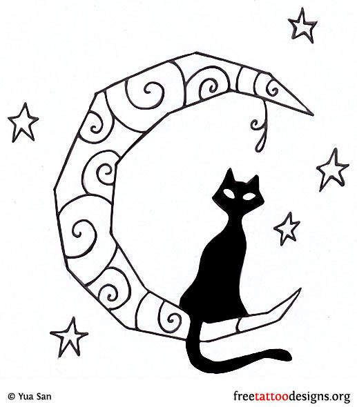 Black Cat And Moon Tattoo Design (really Basic, But This