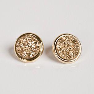 Marcia Moran Gold Druzy Stud Earrings - Our best-selling earrings. 18k gold-plated. Hypo-allergenic. $108
