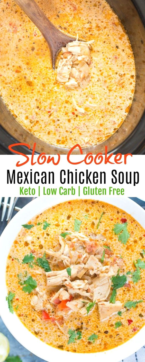 Slow Cooker Mexican Chicken Soup - Keto - Low Carb #keto #lowcarb #mexican #soup #chicken #healthyeating #mealprep #dinner #slowcooker #crockpot Easy Keto Diet Friendly Crockpot or Slowcooker Ideas #keto_recipes #low_carb_recipes #Keto_diet #KetoCookignClub.com