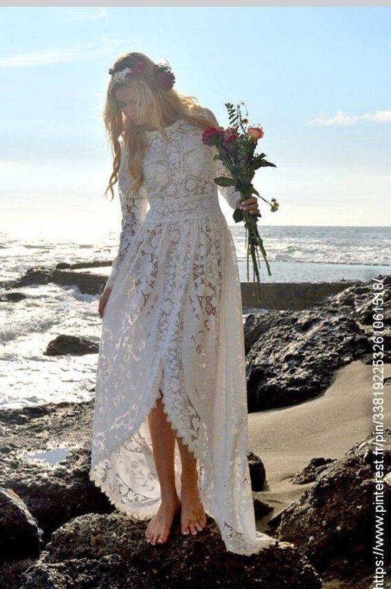 Wedding Dress Boho Wedding Dress Lace Victorian Edwardian Fishtail
