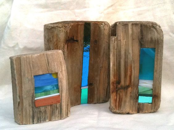 Driftwood inset with beach glass pendant google search for How to make stained glass in driftwood