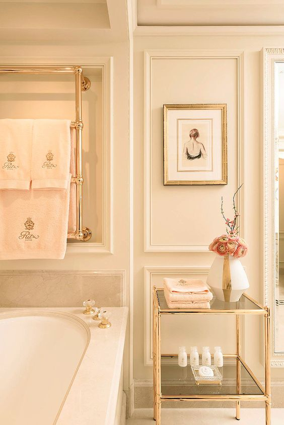 Paris Ritz pink luxury bathroom with gold accents #ritzparis #femininedecor #blushpink