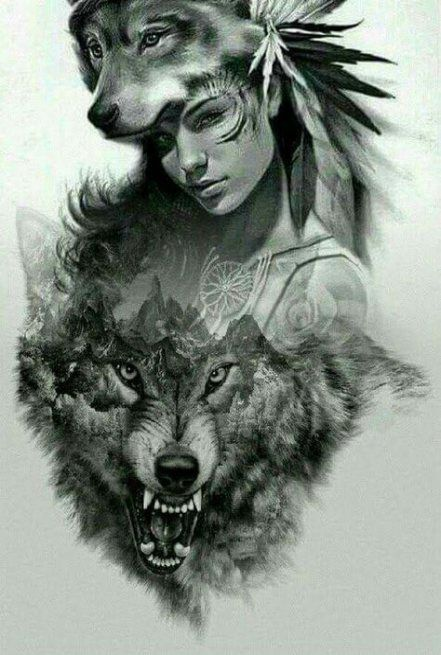 48 Ideas For Tattoo Wolf Drawing Native American Native American Tattoos Native American Girl Tattoo Tattoo Design Drawings