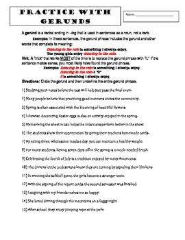 Gerund Worksheets Packet PLUS FREE Gerunds and Verbals Preview ...