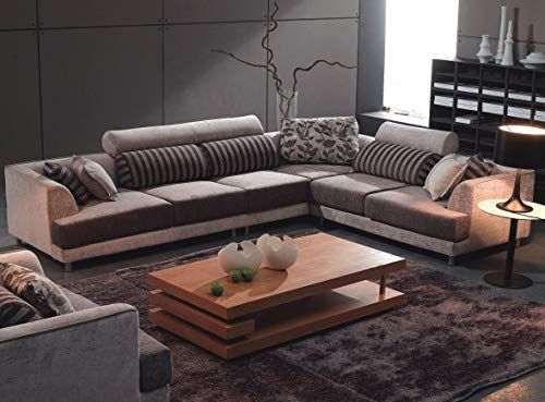 New Tosh Furniture Modern Beige Fabric Sectional Sofa Chair