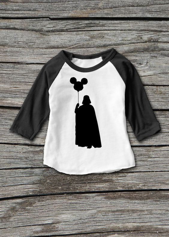 STAR WARS and DISNEY fans!!! This humorous onesie shows Darth Vader holding a Mickey Mouse balloon, bringing these two unmistakable characters together! Your little one can wear this around town, or, to their trip to Disneyland or Disney World!  This is a vinyl image heat pressed onto an American Apparel raglan 3/4 sleeve t shirt. ***SIZE CHART AVAILABLE*** Please scroll through our pictures to find the American Apparel raglan 3/4 sleeve shirt size chart that we have available to you, so you…