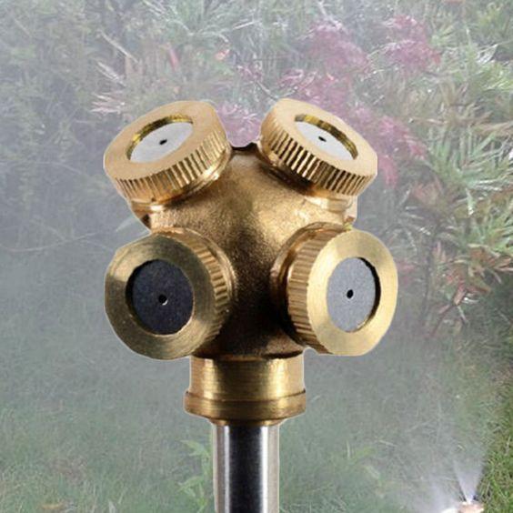 4+Hole+Super+Adjustable+Brass+Spray+Misting+Nozzle+Garden+Sprinklers+Irrigation+db